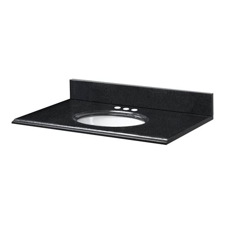 pegasus 31 inch w x 19 inch d granite vanity top in black