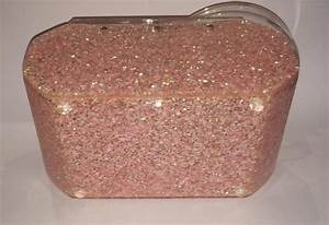 Clear Clutch Designer Rare Pink Confetti Lucite Purse By Charles Kahn At 1stdibs