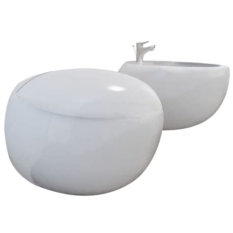 Toilet And Bidet Set by Wall Hung Toilet Bidet Set White Ceramic Vidaxl Co Uk