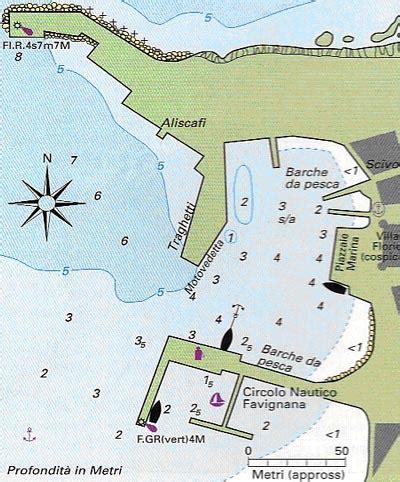 carta nautica porto favignana mappa distanze approdo