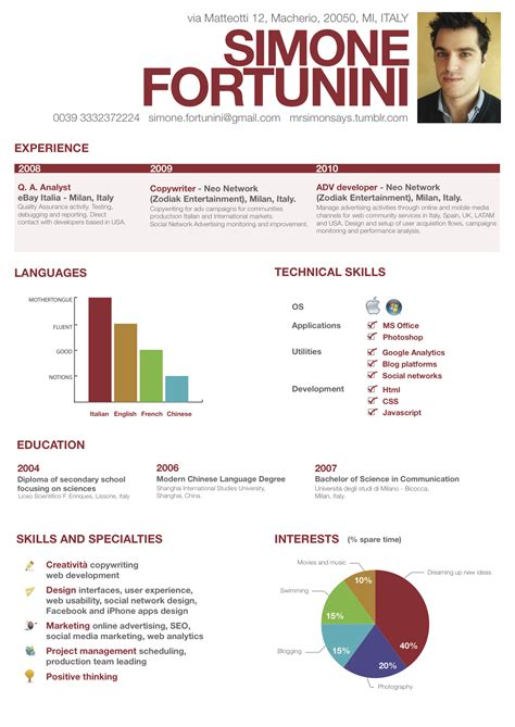 visual resume exles creating communication