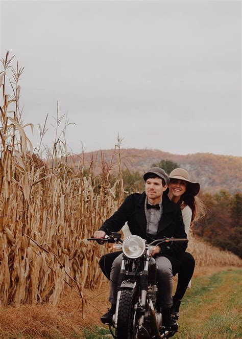 Vintage Americana Inspired Motorcycle Engagement Photos