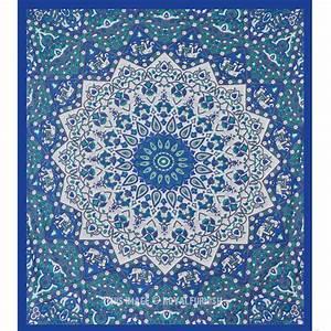 Queen white blue indian mandala star dorm decor hippie