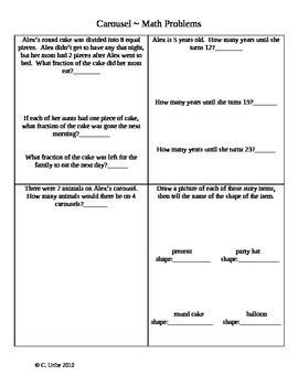 carousel math activity sheets houghton mifflin 174 2nd