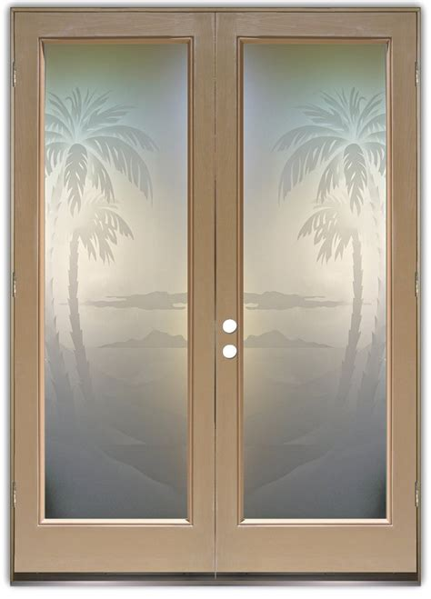 frosted glass doors palms 2d pair etched glass doors decor