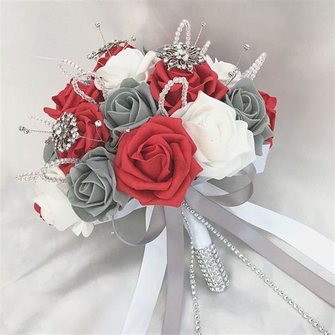 brides posy bouquet red white grey roses artificial