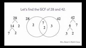 Find The Greatest Common Factor Using A Venn Diagram