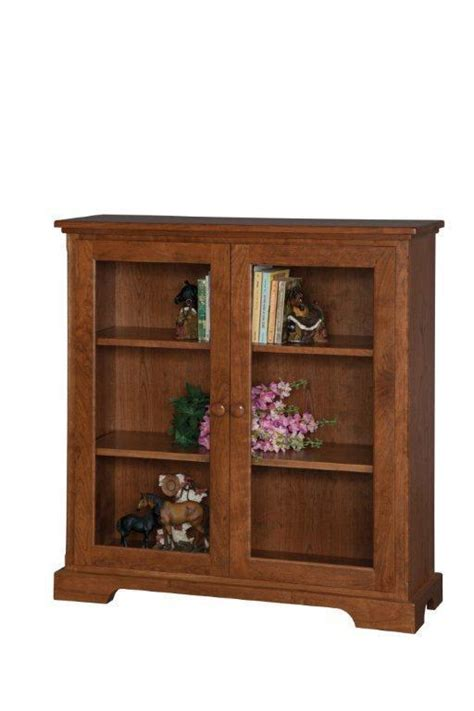 small glass door wooden bookcase  dutchcrafters amish