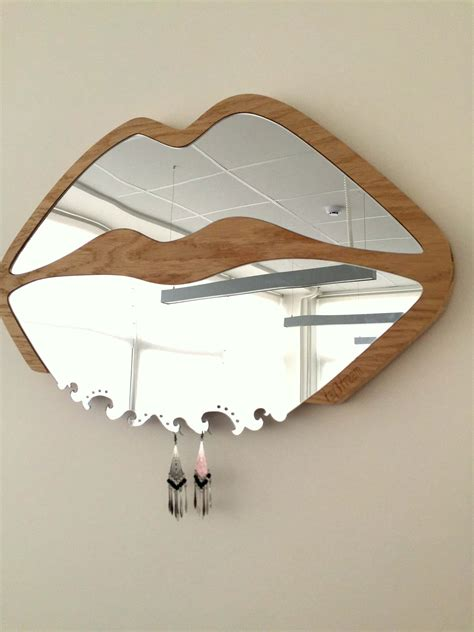 lips shaped mirror wooden frame daydreamcom