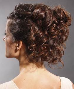 Long Curly Formal Updo Hairstyle Mocha Brunette Hair Color