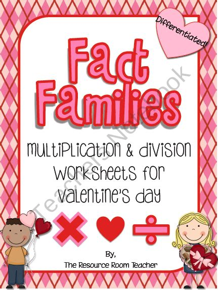 fact family valentines day worksheets product