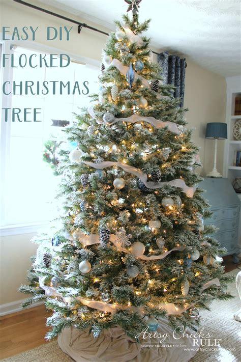 diy flocked tree wreaths   thrifty holiday decor