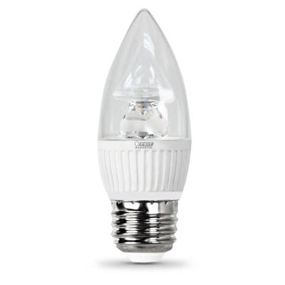feit electric led bulb clear candelabra torpedo tip