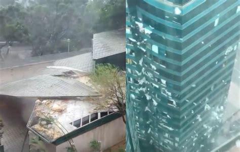 breaking dramatic  images  severe typhoon mangkhut slams  hong kong coconuts
