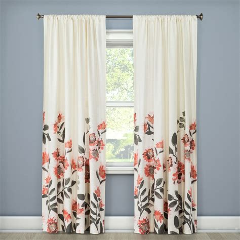 floral window curtains climbing floral window curtain panel coral pink 54 quot x108