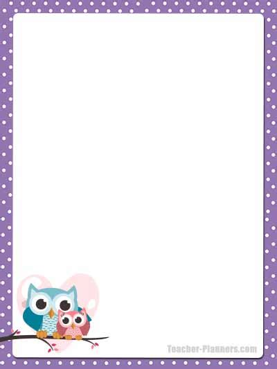 cute owl stationery  printable unlined paper timesaver
