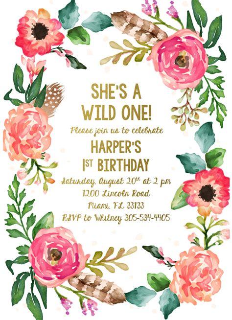 Wild One Birthday Invitation Girl First 1st Birthday