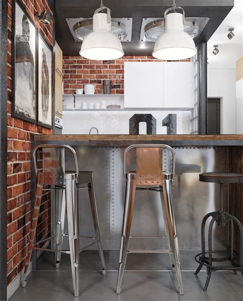 small industrial kitchen design industrial style 3 modern bachelor apartment design 5404