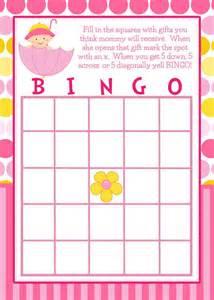 Girl Baby Shower Bingo Cards