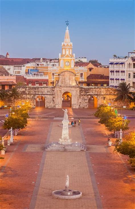 clock tower gate the principal entrance of the city of cartagena de indias columbia by