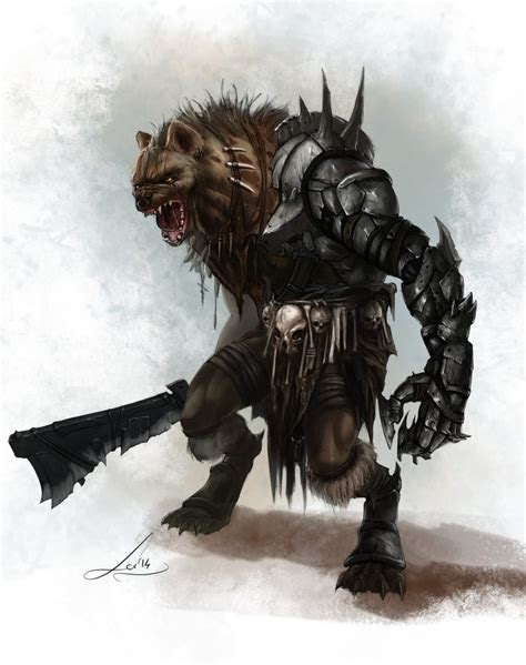 pathfinder advanced template limbjack gnoll by tanathiel on deviantart