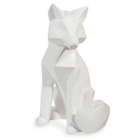 chambre ado fille et noir statuette renard blanc h 26 cm fox origami maisons du monde