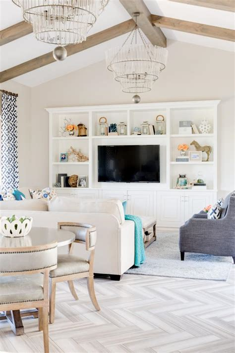 transitional great room  crystal chandeliers hgtv