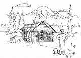 Cabin Coloring Log Lake Cabins Woods Adult Panda Colouring Lincoln Sketch Wood Houses Template Homes Logs Happy sketch template