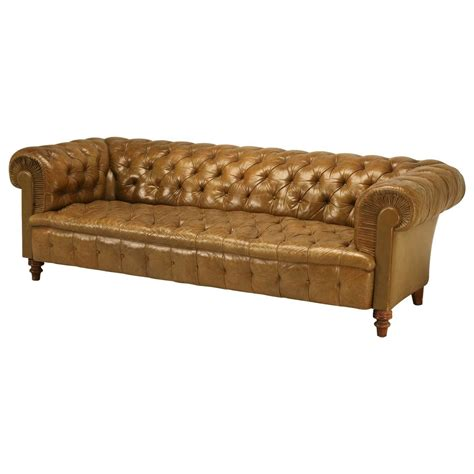original unrestored chesterfield tufted leather sofa at