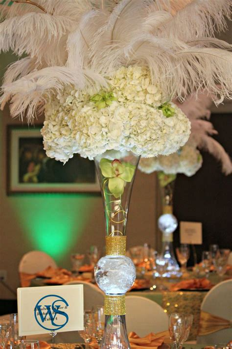 hydrangea  feathers centerpiece httpidowedbysheri