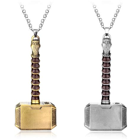 heyu fashion movies thor hammer necklace marvel avengers