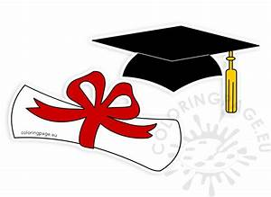 Graduation hat rolled diploma clipart | Coloring Page