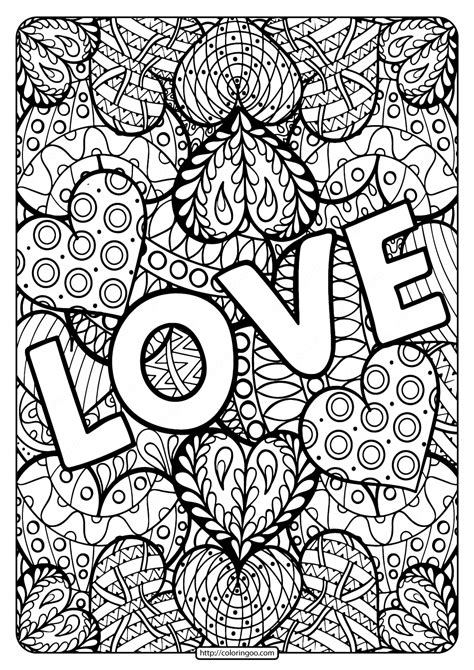 printable love  coloring page