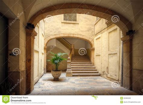 courtyard   spanish home stock image image  staircase green