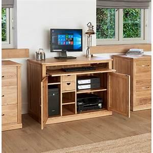 Solid, Light, Oak, Hidden, Home, Office, Computer, Desk, Storage, Cupboard, Work, Station