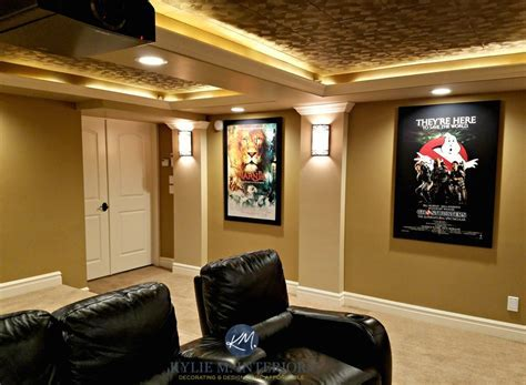 Home theatre, media room with textured acoustic ceiling