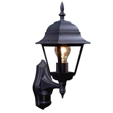 b q polperro black external lantern with pir sensor