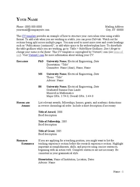 CV Template - Table Format | Thesis | Résumé