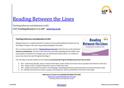 Inference And Deduction Reading Between The Lines By Lcpteachingresources Teaching
