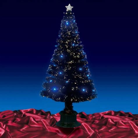 beautiful 6ft 180cm black fibre optic christmas tree with blue led lights
