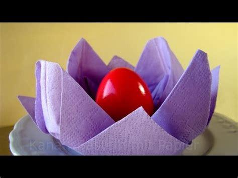 servietten falten osternest basteln osterdeko selber