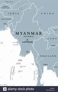 Myanmar Political Map With Capital Naypyidaw  English