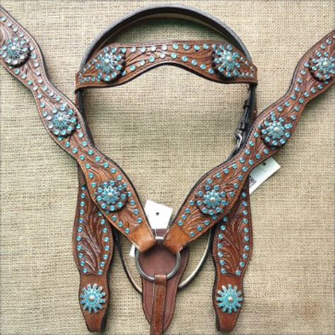 western leather horse bridle headstall breast collar dark