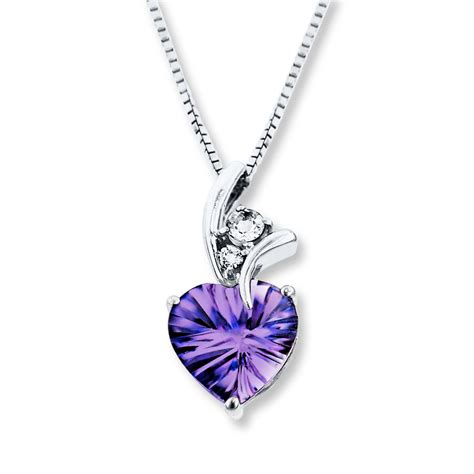 Amethyst Necklace Lab-Created Sapphires Sterling Silver