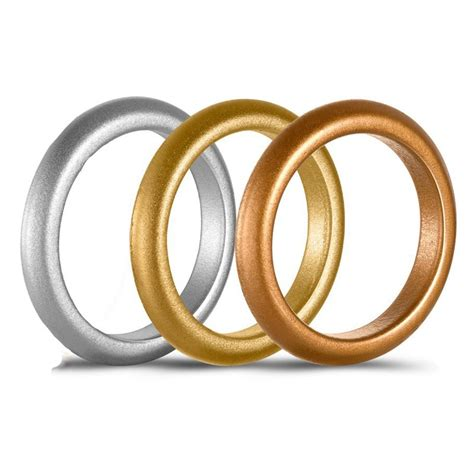 3mm wide glossy silicone ring wedding band silver gold rubber rings for men women finger jewelry