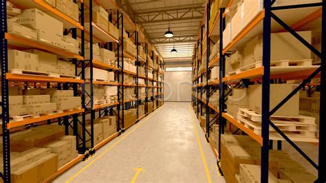 Warehouse Interior Boxes Logistics Industry. Factory Cargo
