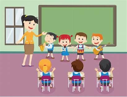 Giocano Bambini Che Spielen Musik Klassenzimmer Kinderen