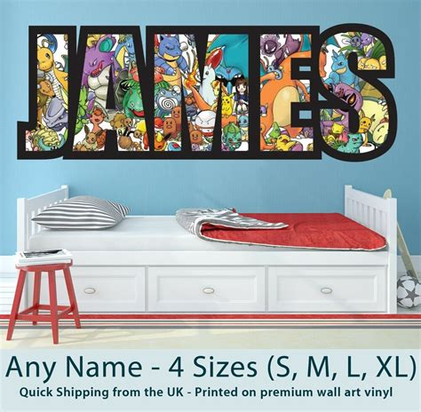 childrens  wall stickers art personalised pokemon