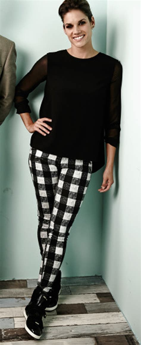 Pants: check, black and white, jeans, missy peregrym