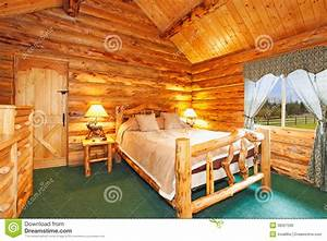 Cozy Bedroom In Log Cabin House Stock Photo - Image: 38327590